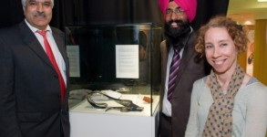 Sikh Fortress Turban exhibition in the Tower Museum are from left, Satnam Singh Gill, Satwinder Singh, facilitator and Bernadette Walsh, City Archivist.