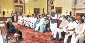 The delegation of SAD and BJP leaders during their meeting with President Pranab Mukherjee at Rashtrapati Bhawan in New Delhi on Wednesday.