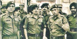 From left) Lt Gen K Sundarji, Army chief Gen AS Vaidya and Maj Gen KS Brar at the Golden Temple in June 1984.