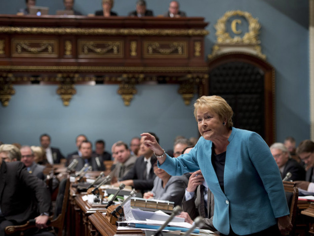 Quebec Premier Pauline Marois responds to Opposition questions at the legislature in Quebec City