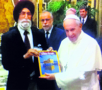 mohinder Singh, honorary director, Bhai Veer Singh Sadan, with Pope Francis at The Vatican in Rome