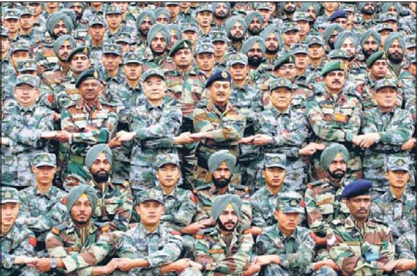 Indian and Chinese contingents at the concluding ceremony of the joint military exercise in China's Sichuanan province.