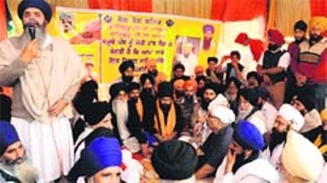Bhai Mokham Singh addresses a gathering at Gurdwara Amb Sahib in Mohali on