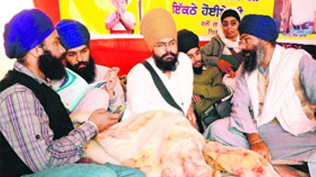 Damandeep Singh (yellow turban) on hunger strike in Mohali
