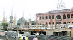 The langar hall under construction at the Golden Temple complex in Amritsar.