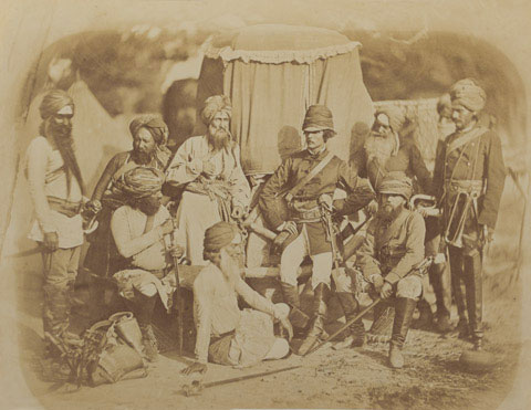 Sikh and British Officers of Hodson's Horse, Indian Mutiny, 1858.