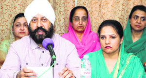 Representatives of the Sikh Council, UK, at a press conference in Jalandhar