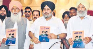 Shiromani Akali Dal president Sukhbir Singh Badal, accompanied by SAD leaders Sukhdev Singh Dhindsa (left) and Balwinder Singh Bhunder, releasing the party's election manifesto in Bathinda