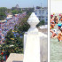 Lakhs of devotees on their way to participate in the Baisakhi festival at Takht Damdama Sahib; (right) devotees take bath at the sarovar of Takht Damdama Sahib gurdwara; (below left) volunteers serve 'thandai' to devotees; (below right) members of the Medical Practitioners Association distribute medicines to the needy.