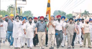 HSGMC supporters taking out a protest march in Ambala on Sunday.