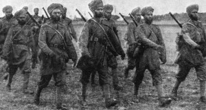 Sikh soldiers on the march in France at the start of the First World War.