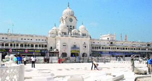 A view of the ongoing work at the Golden Temple entrance plaza in Amritsar.