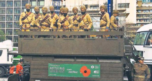 100 YEARS ON London procession marks World War 1 centenary, volunteeers demonstrate how battle bus used to carry Sikh soldiers to the Western Front