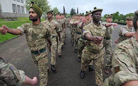 roops from 1st Battalion Royal Regiment of Scotland marching at Dreghorn Barracks (Crown copyright)